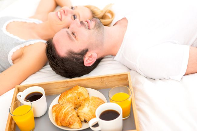 Wedding anniversary gifts can be as simple as breakfast in bed.