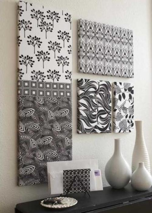 DIY Canvas Art Ideas - Fabrics