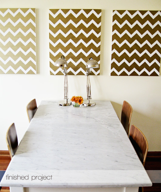 DIY Canvas Art Ideas - Gold Chevron
