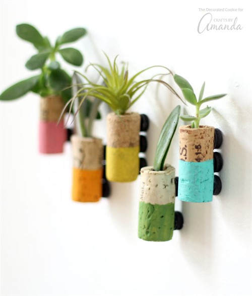 Craft Ideas For Adults - Wine Cork Succulent Magnets