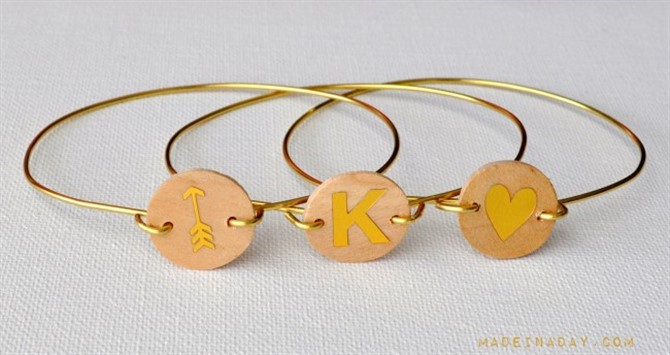 Craft Ideas For Adults - Wood Monogram Wire Bracelet