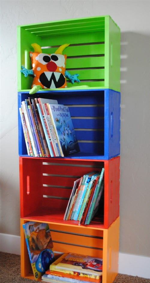 Budget Decorating Ideas For Kids Bedrooms - DIY Bookshelf Made From Crates