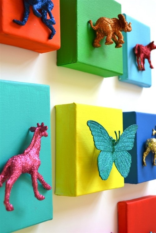 Budget Decorating Ideas For Kids Bedrooms - Glittered Animal Canvases