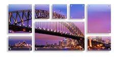 Split glass prints - (2) 40 x 50cm & (2) 40 x 25cm & (3) 25 x 25cm & (1) 85 x 50cm