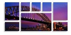 Split photo metal prints - (2) 40 x 50cm & (2) 40 x 25cm & (3) 25 x 25cm & (1) 85 x 50cm